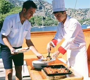 The chef serving up food on the Gulet Charter in Turkey